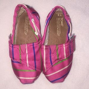 Toms Pink Striped Toddler Size 6 Velcro